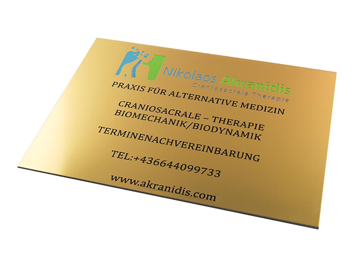 Ordinationsschild- Alu gold glänzend graviert und eingefärbt Karas Wiener Schilderwerkstatt