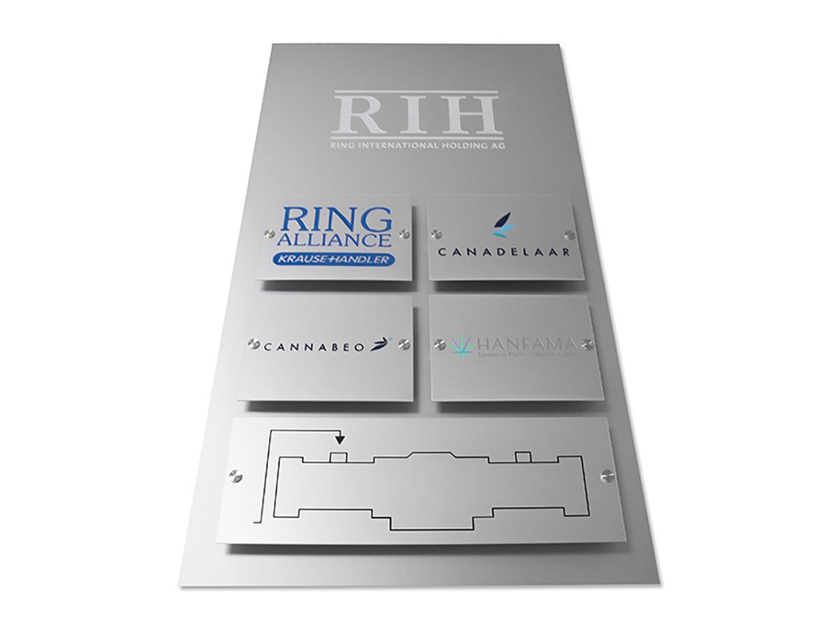 Systemschild Aluminium Edelstahleffekt graviert Grundplatt Aluminium Edelstahleffekt - Karas Wiener Schilderwerkstatt