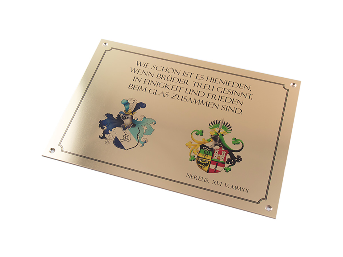 Gedenktafel - Messingschild mit Digitaldruck - Karas Wiener Schilderwerkstatt