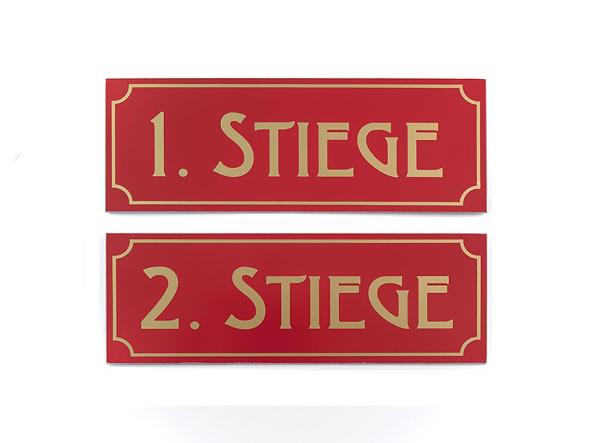 Stockwerksschilder- Aluminium mit Folienschnitt - Karas Wiener Schilderwerkstatt